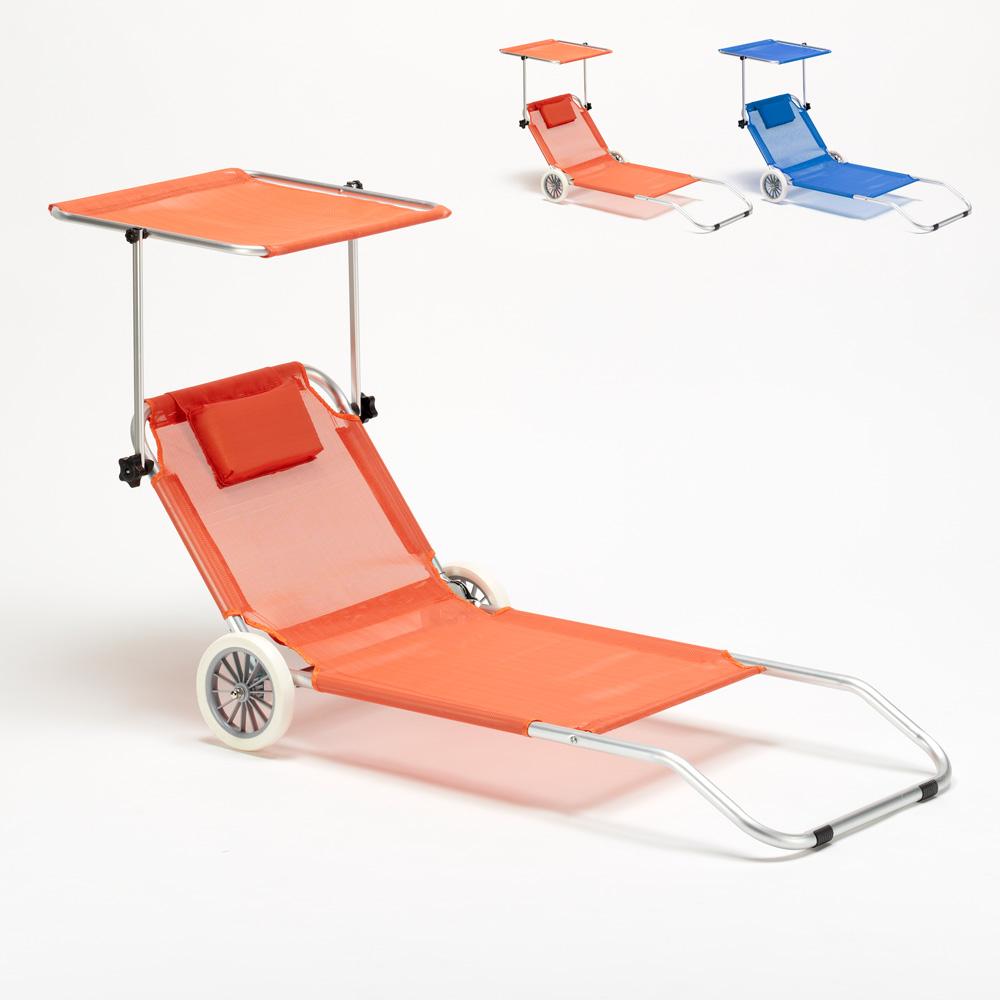 Tumbona playa aluminio ruedas hamaca silla toldo plegable BANANA - details