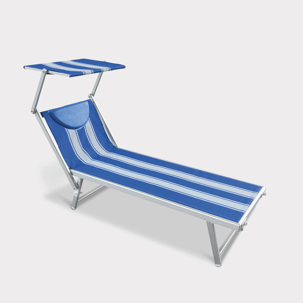 Tumbona de playa de aluminio con Toldo Parasol Santorini Stripes