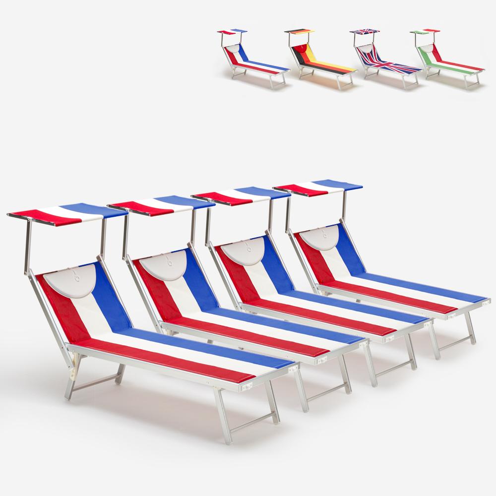 4 tumbonas de playa profesionales de aluminio Santorini Europe