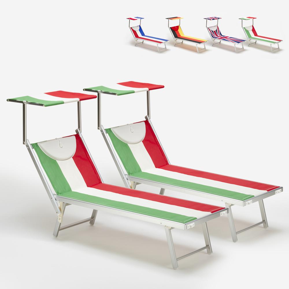 2 tumbonas de playa profesionales de aluminio Santorini Europe