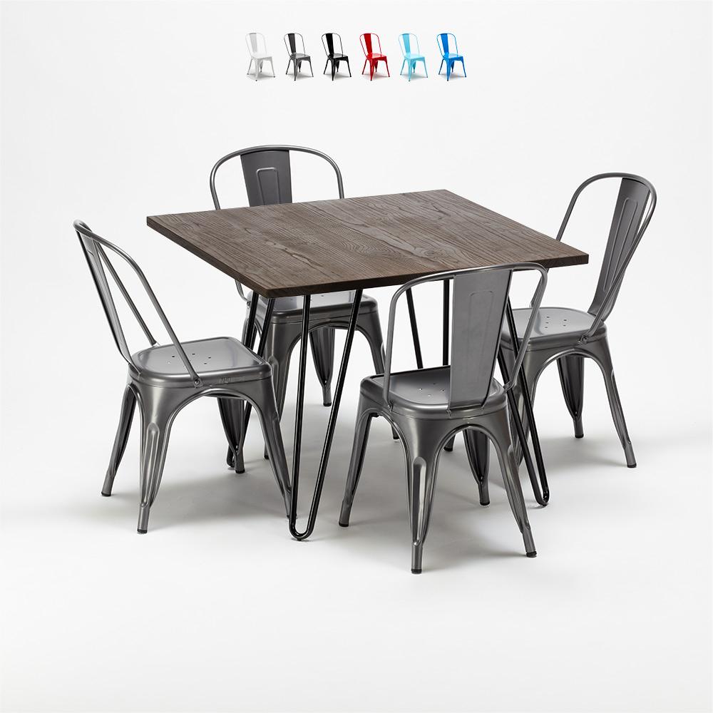 Conjunto de mesa y sillas cuadradas en metal y madera en estilo industrial Tolix Pigalle