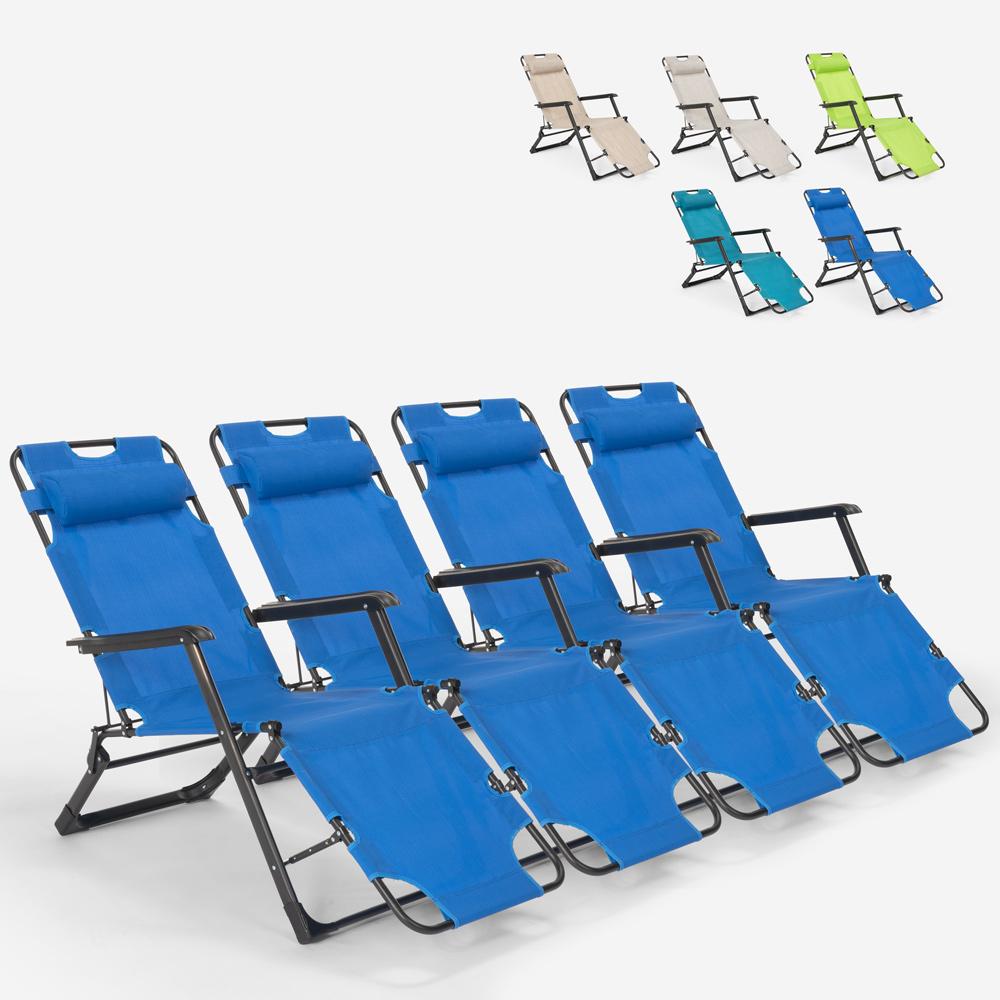 4 sillas de playa de jardín plegables multiposición Zero Gravity