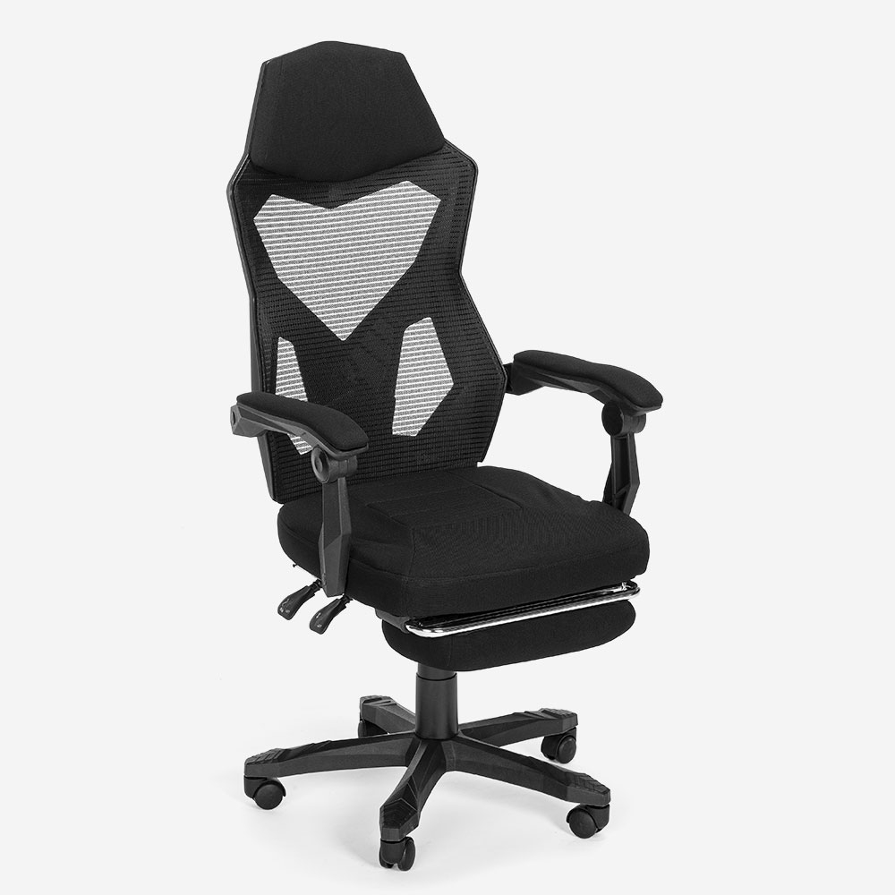 Silla gaming ergonómico transpirable diseño futurista reposapiés Gordian Plus Dark