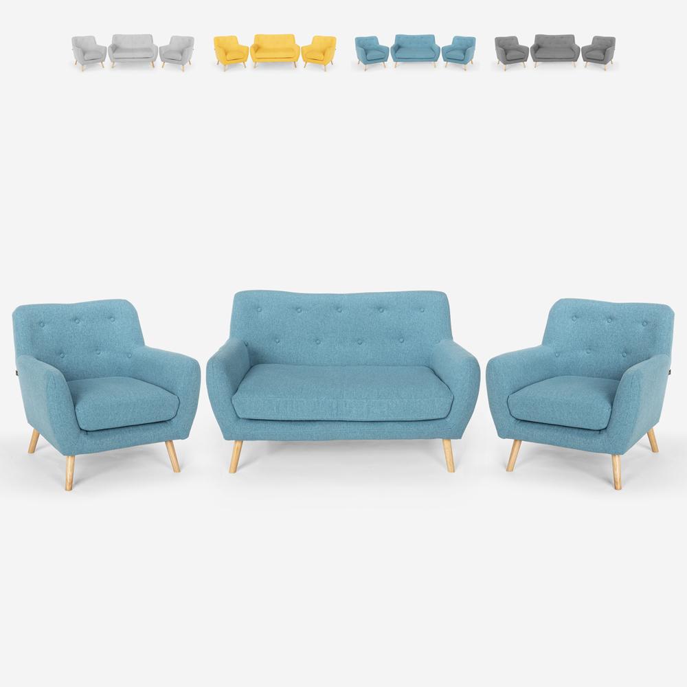 Conjunto de salón 2 sillones de diseño escandinavo y sofá 2 plazas en madera y tela Cleis