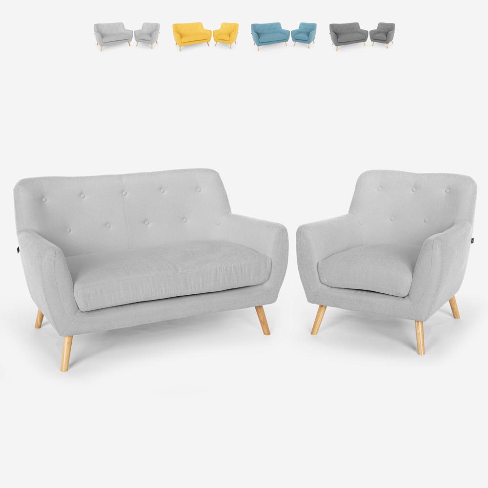 Sillón de salón sofá 2 plazas diseño escandinavo madera y tela Algot
